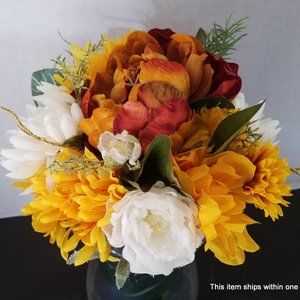 Artificial FLORAL ARRANGEMENT Peonies and Mums